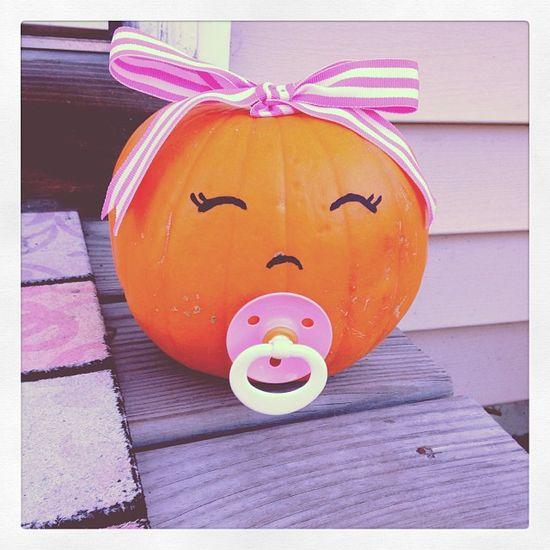 #baby #girl #pumpkin #pacifier