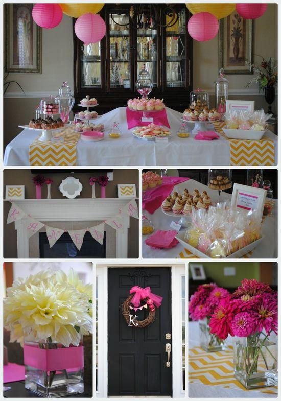 Baby Shower Dessert Table and favors idea- pink and yellow chevron PLUS vanilla bean cupcake recipe