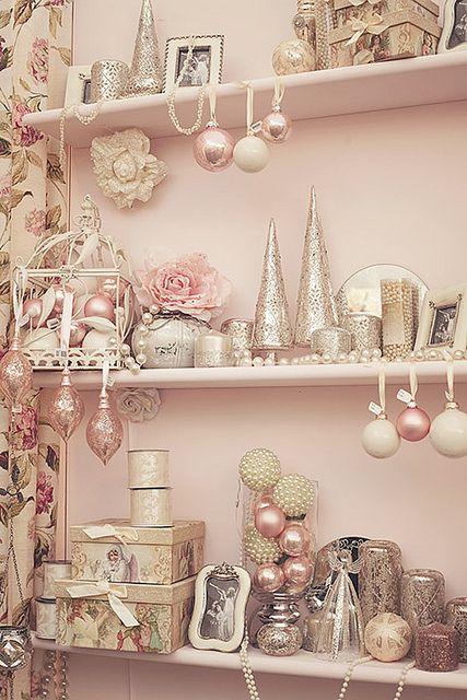 Pink Christmas. #pink #silver #Christmas #display #shelves #ornaments #trees #trays