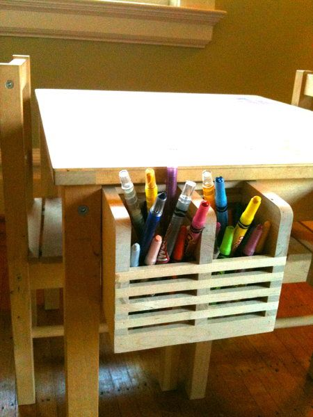 Use a utensil holder for art supplies. Attached to a kid's table, they are easy to use and clean up.