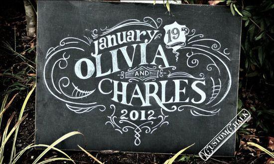 chalkboard art wedding sign