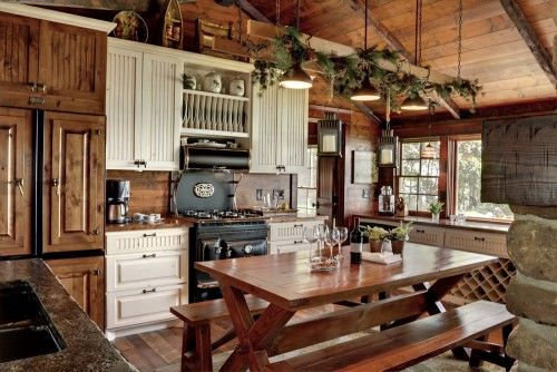 What a neat kitchen for a log home