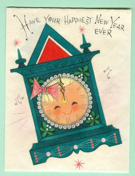 Vintage New Year Greeting Card