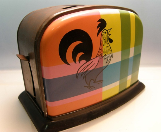 Breakfast is Served - 1950s Plaid Rooster Child's Play Toaster