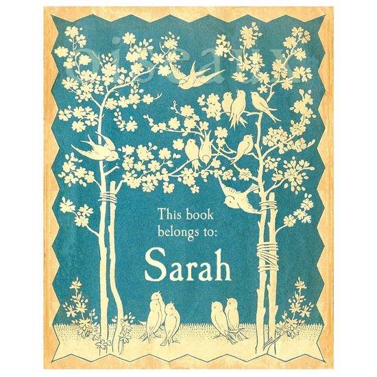 Blue bird bookplates, illustration from old children's hymn book.