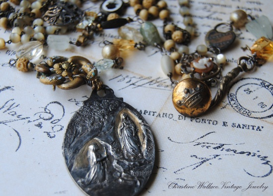 Lourdes Layer Necklace--Vintage French Lourdes Medal Bone Mother Of Pearl Rosary Gemstone Button Charm NECKLACE