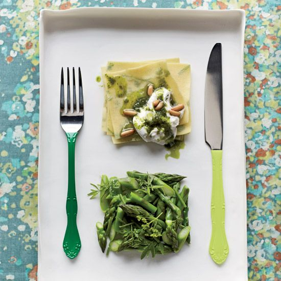 A perfect dish for this warm weather we are having: Herbed Fazzoletti with Asparagus and Burrata // More Great Pastas: www.foodandwine.c... #foodandwine