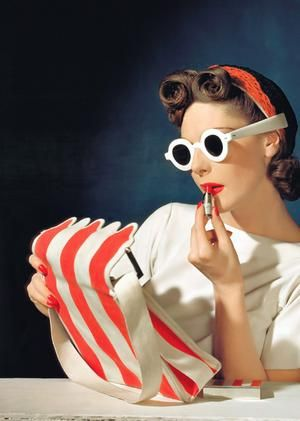 Vintage style... Retro bag and sunglasses.