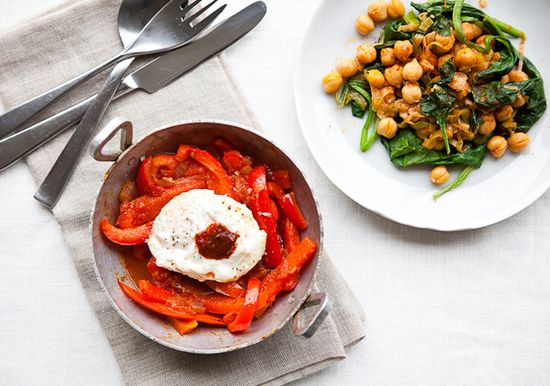 Food Lovers Cleanse Tunisian-Style Poached Eggs in Red Pepper Sauce by bonappetit #Cleanse #Eggs #Harissa