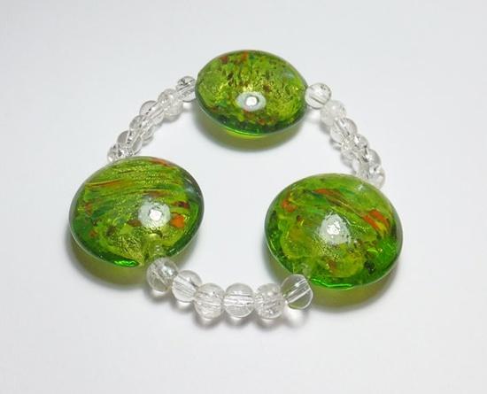 Green Lampworked Glass Beaded Stretch Bracelet by tzteja on Etsy, $12.00  #bracelet, #beaded, #glass, #green, #handmade, #chunky, #stretch