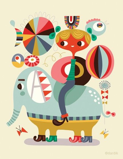 join the circus... limited edition giclee print of an original illustration (8.5 x 11in) by Helen Dardik