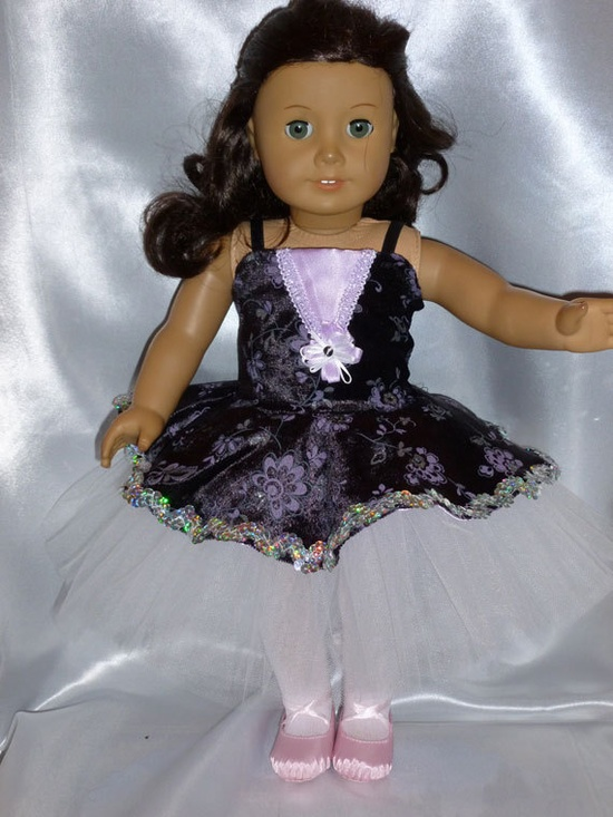 Lovely! Black Orchid Dance Costume for an 18 inch doll.  via Etsy.
