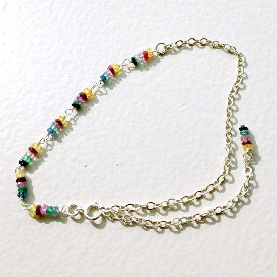 Sapphire Bracelet Multi Color Chain Bracelet by jewelrybycarmal, $35.00