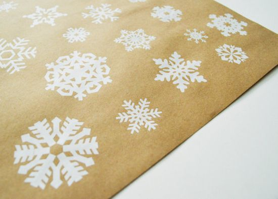 Silkscreen Snowflake Gift Wrap White Winter Wrapping by HelloHeyYo