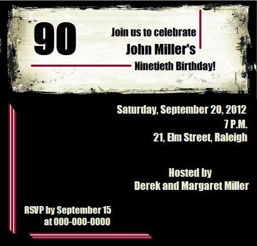 90th Birthday Invita