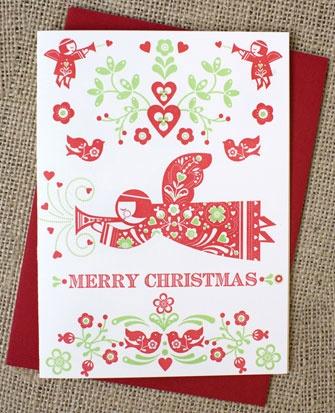 folk angel christmas card