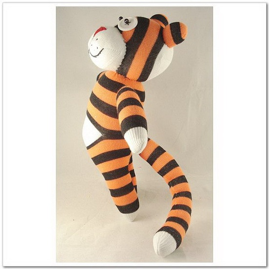 Handmade Paunchy Sock Tiger Stuffed Animal by supersockmonkeys