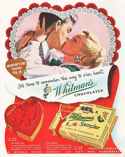 Chocolate (claimed this yesteryear Whitman's ad), the way to a woman's heart :) #vintage #ad #chocolates #food #Valentines #1950s #fifties