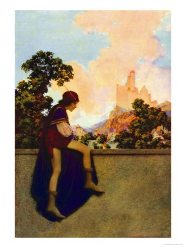 The Knave Watching Violetta Depart Premium Poster by Maxfield Parrish