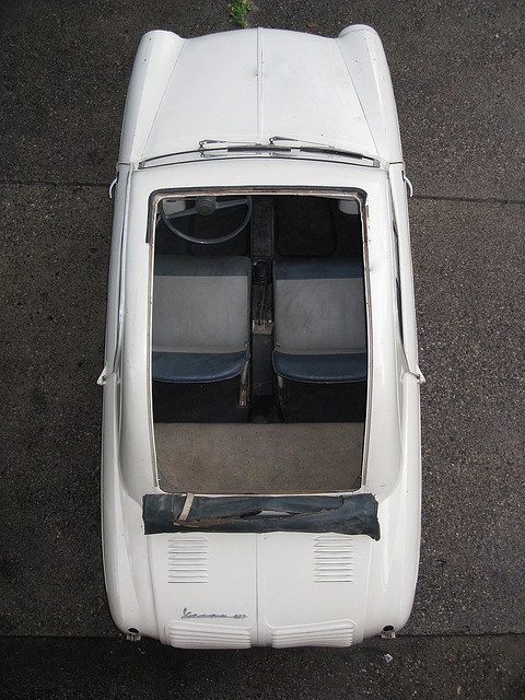 Vespa 400 car from above