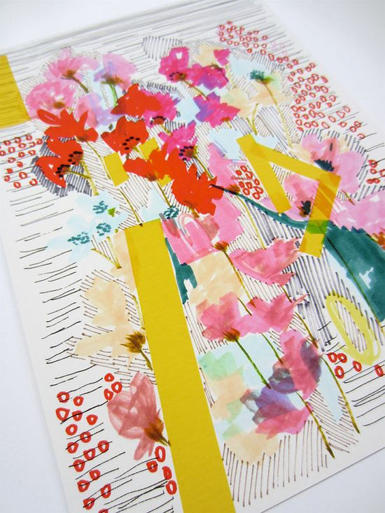 Floral Doodle 2  Flowers with Yellow Stripes  by StudioLegohead,