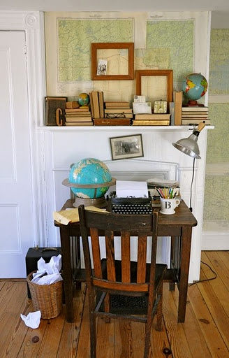 vintage office - this has everything I like! Maps, globes, old books...