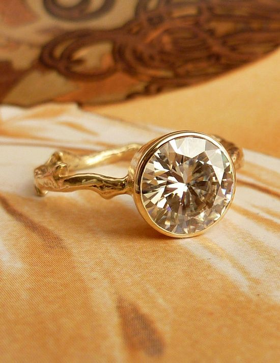 Moissanite Solitaire Engagement Ring by kateszabone on Etsy, $1995.00