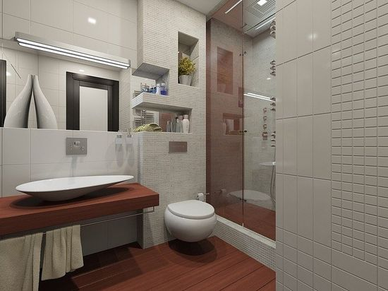 Fashionable Apartment Decoration with the Best Design: Fascinating Modern Bathroom Design Floating Vanity Fashionable Moscow Apartment