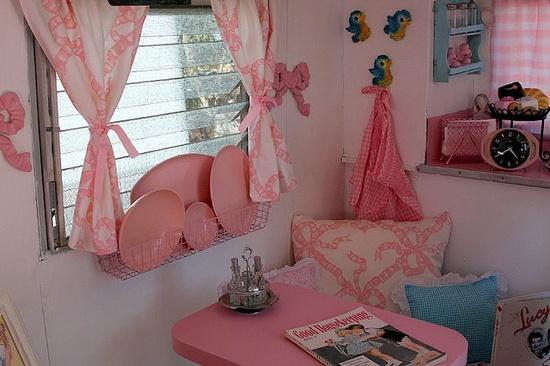 Lovely pink vintage trailer interior