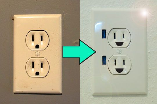 how to upgrade a wall outlet to usb functionality...via apartment therapy