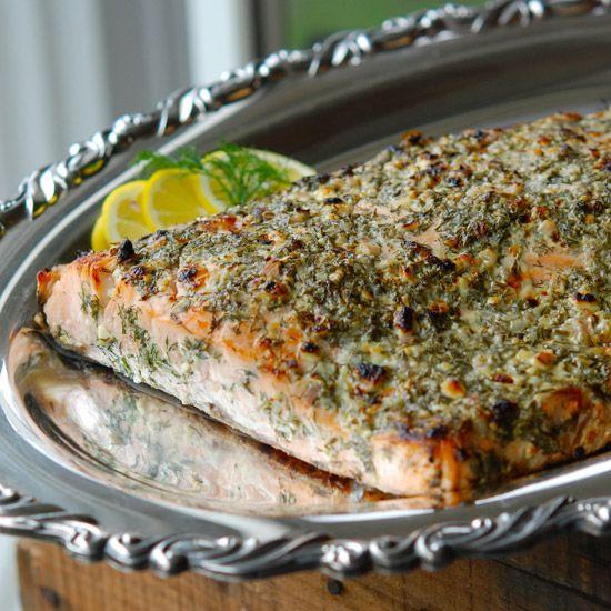 Broiled Salmon with Blue Cheese, Lemon and Dill // More Fabulous Salmon Recipes: www.foodandwine.c... #foodandwine