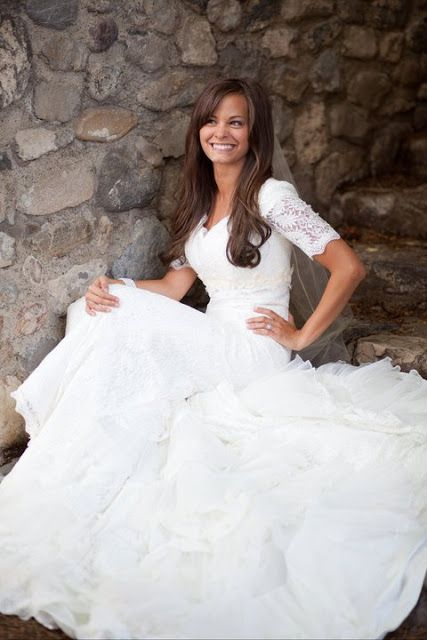 #wedding #dress #sleeves #lace #modest #mormon #lds #bridal #gown