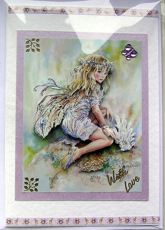 Fairy HandCrafted 3D Decoupage Card  With Love by SunnyCrystals, £1.65 #decoupage #fairy #birthday #card #lilac #butterfly