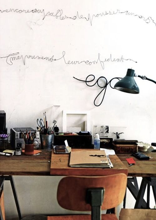 Work space, desk and artwork
