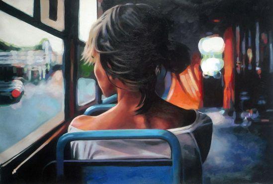 "Saatchi Online Artist: thomas saliot; Oil, Painting ""Bus Light"""