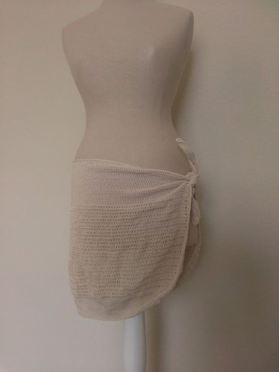 Ivory Crochet Wrap Coverup Skirt or Shawl A14 by TheSteadyHand, $45.00