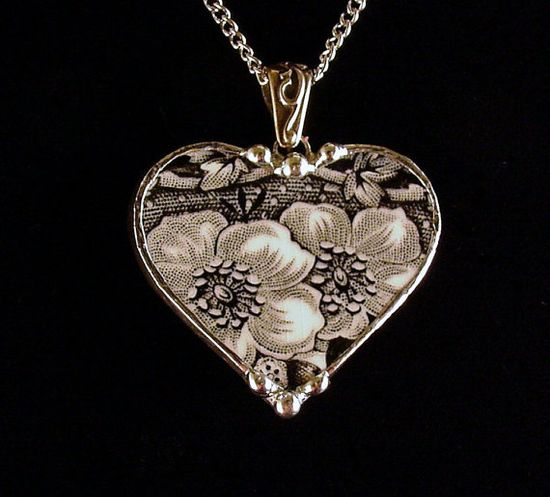Black floral toile english transferware broken china pendant by Dishfunctional Designs