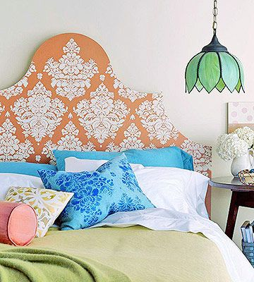 Dress up a plain headboard with intricate stencil details. Here's how: www.bhg.com/...