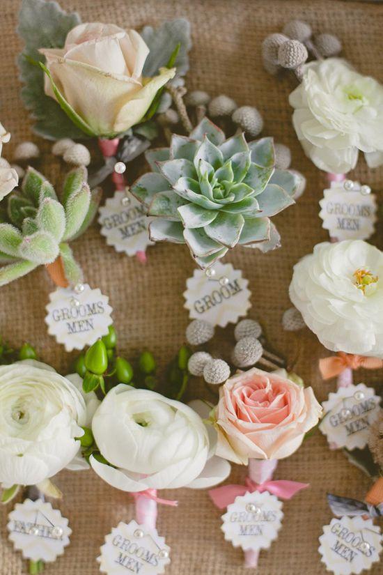 Fun garden inspired boutonnieres #NordstromWeddings