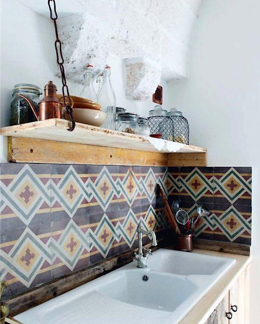 Patterned tile, white kitchen