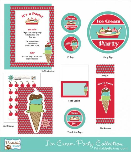 Ice Cream Party Printable Collection PrintablesByAmy.com