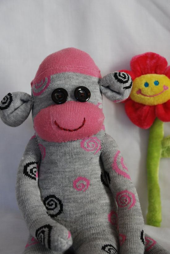 sock monkey stuffed animal  grey with black and pink by GARBUBOT, ?80.00