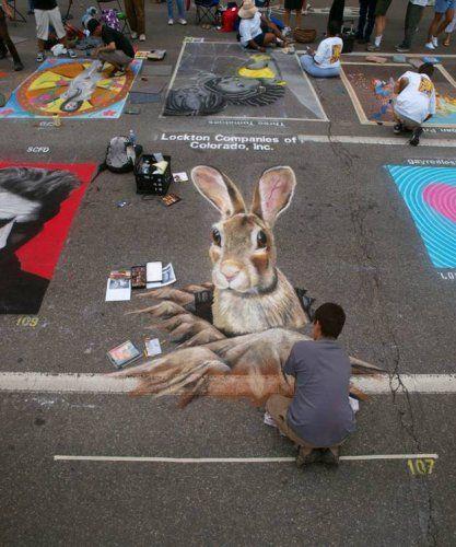 Incredible street chalk art, Denver's Chalk Art Festival