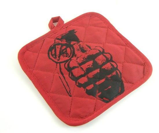 Red Pot Holders  Grenade Indie Kitchen  Trivet by MoxieMadness, $10.00