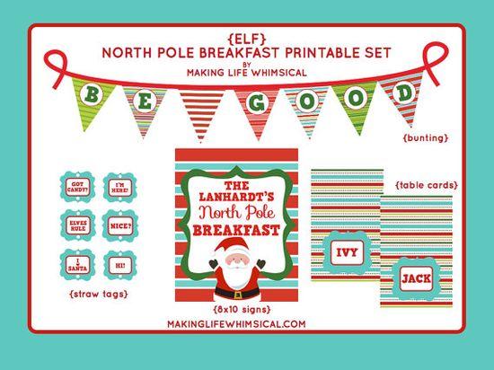 PERSONALIZED Elf on the Shelf North Pole Breakfast Printable Set by Making Life Whimsical #elfontheshelf #blogherholidays