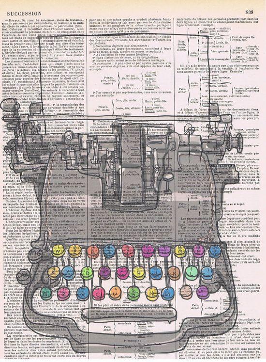 Collage Art.Typewriter.Handmade Gift