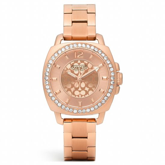 Mini Boyfriend Rose Gold Plated Crystal Bracelet Watch from Coach #CoachNewYorkMinute
