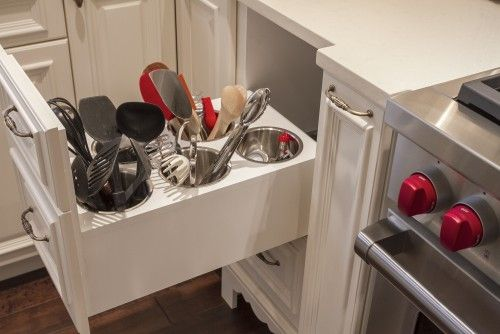 Not on the counter, not stuffed in a flat drawer. Genius!
