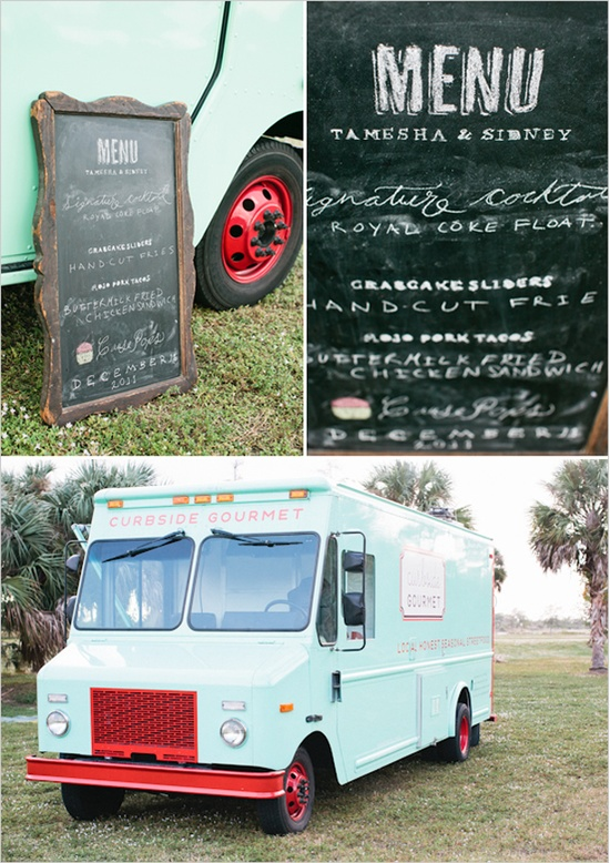 Boho Food Truck - I like the chalkboard menu and the paint accents on the truck