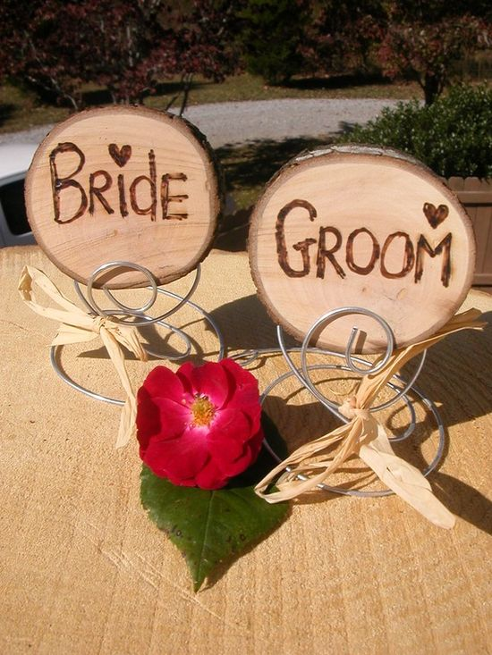 Rustic Wedding Natural Wood Seating Markers For BRIDE and GROOM With Wire stands